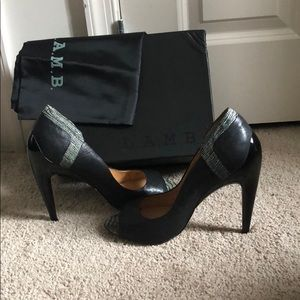 5 inch heels leather L.A.M.B shoes, size 10M